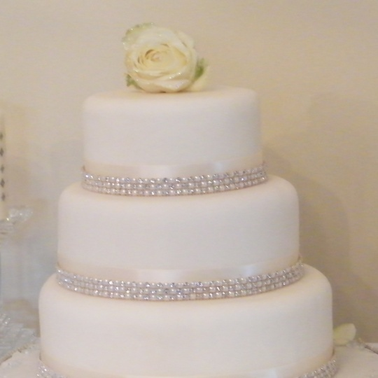Diamante Wedding Cake Ribbon Three Tier Mrs Doyle S Cakes Clane Co